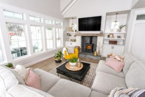 farmhouse living room with coffee table