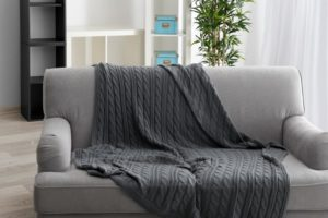 gray throw blanket on couch