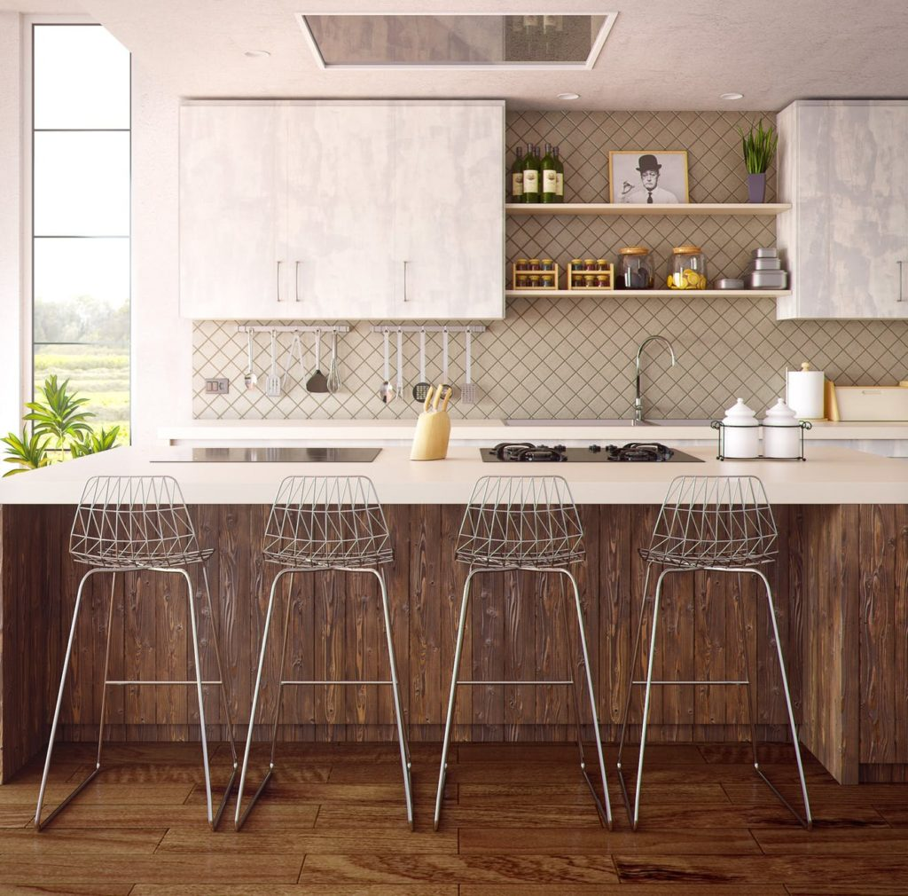 Large kitchen with undermount sink