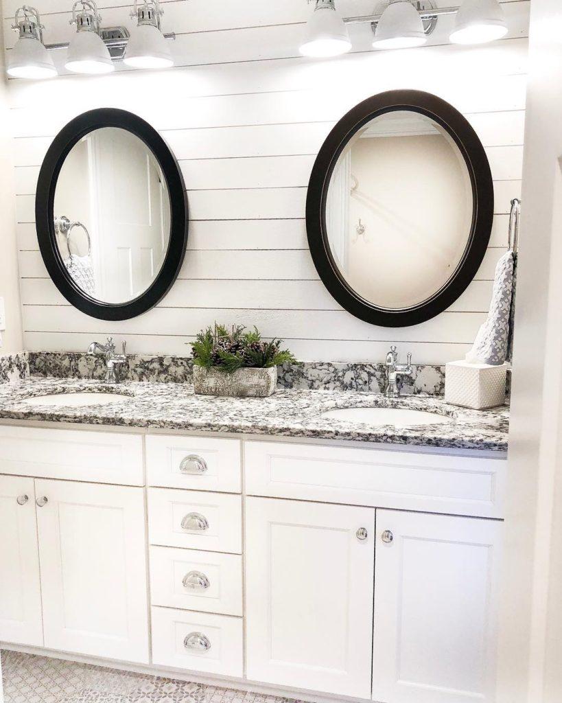 shiplap bathroom in farmhouse stile with granite countertops Bathroom Lighting Ideas