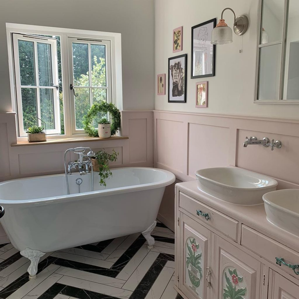 bathroom with pink walls in shabby chic style Bathroom Lighting Ideas