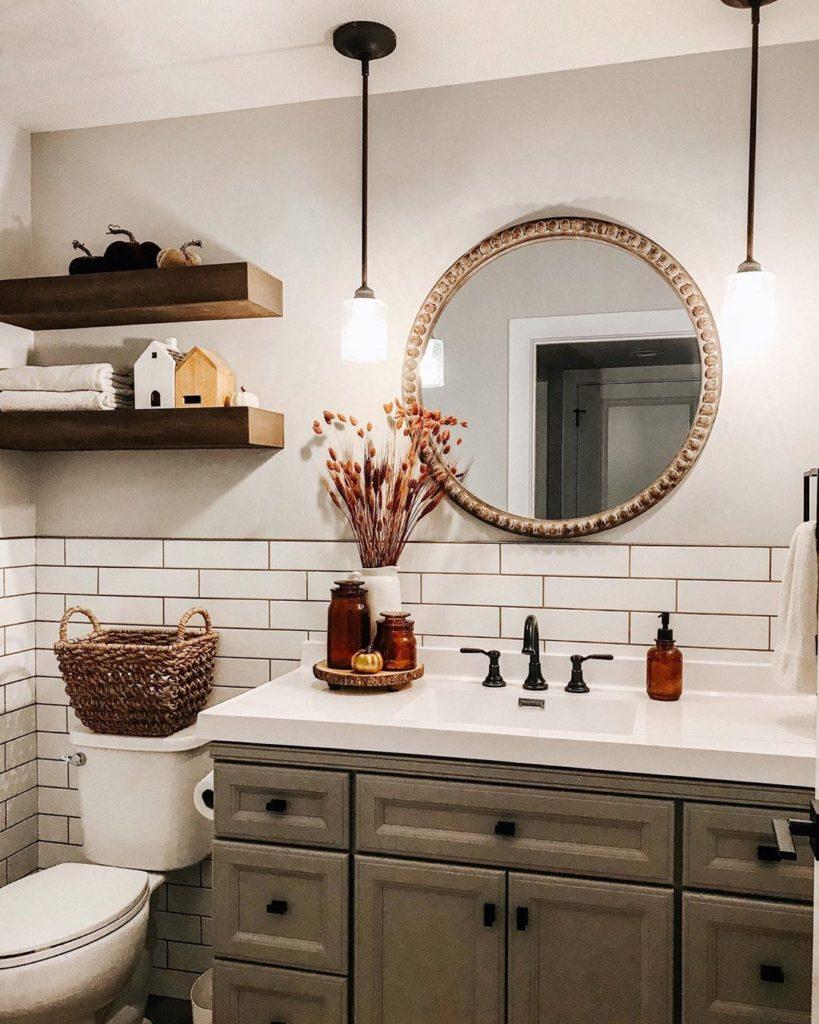 farmhouse bathroom with subway tile Bathroom Lighting Ideas