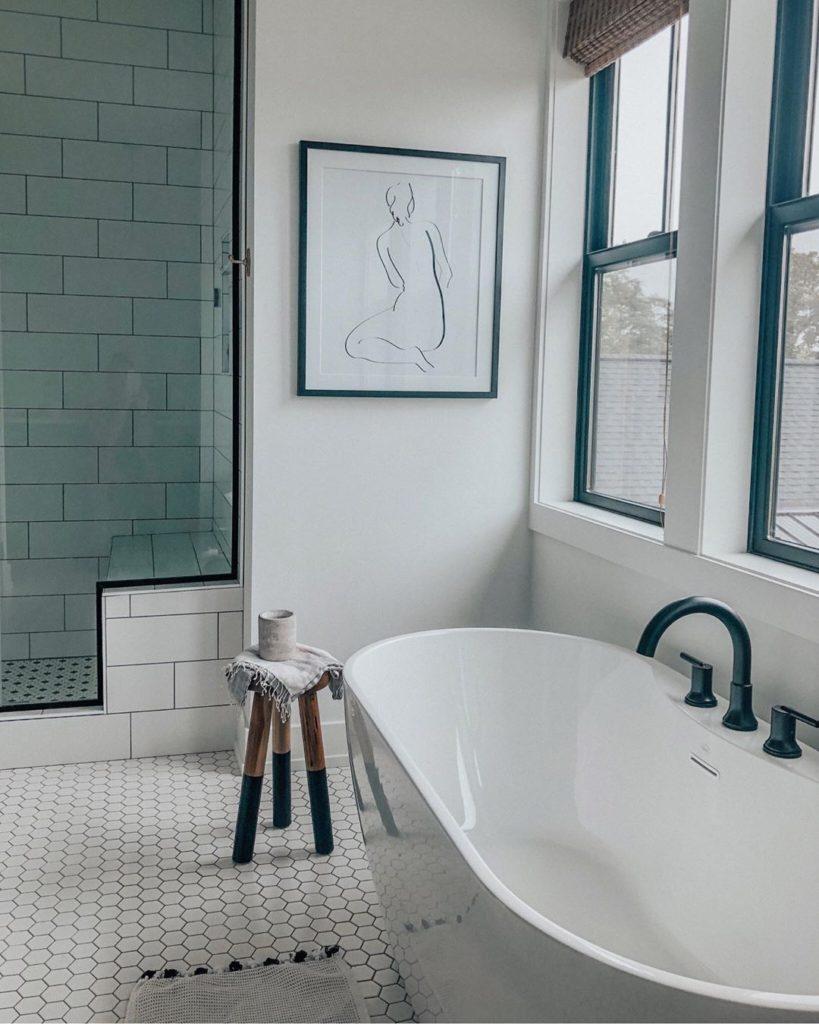 white hexagon bathroom floor with large subway tile on walls Bathroom Lighting Ideas