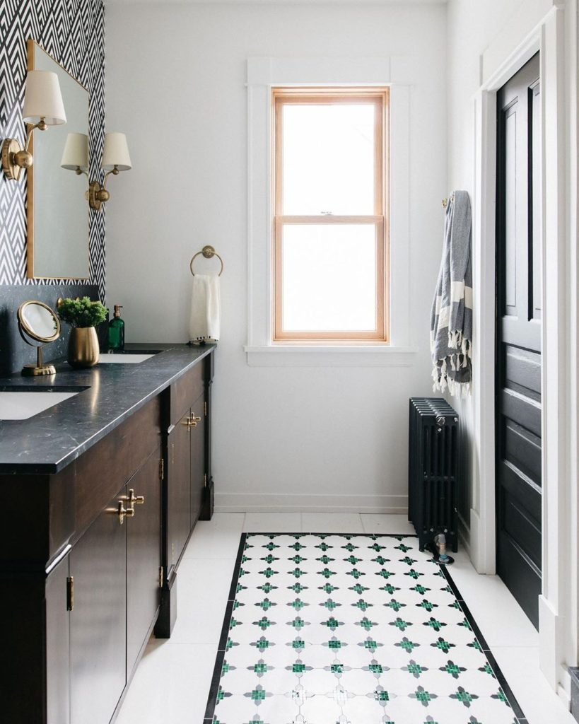 midcentury modern bathroom with emerald floor accent Bathroom Lighting Ideas