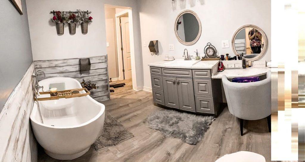 grayscale bathroom with fur accents Bathroom Lighting Ideas