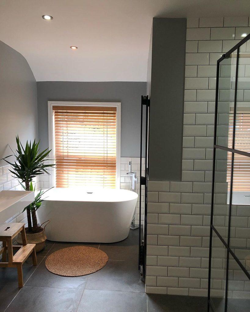 Subway Tile, Jute, and Charcoal bathroom lighting ideas