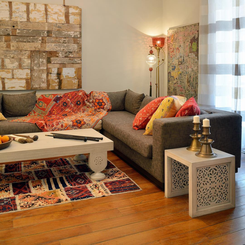 how to place a rug under a sectional sofa