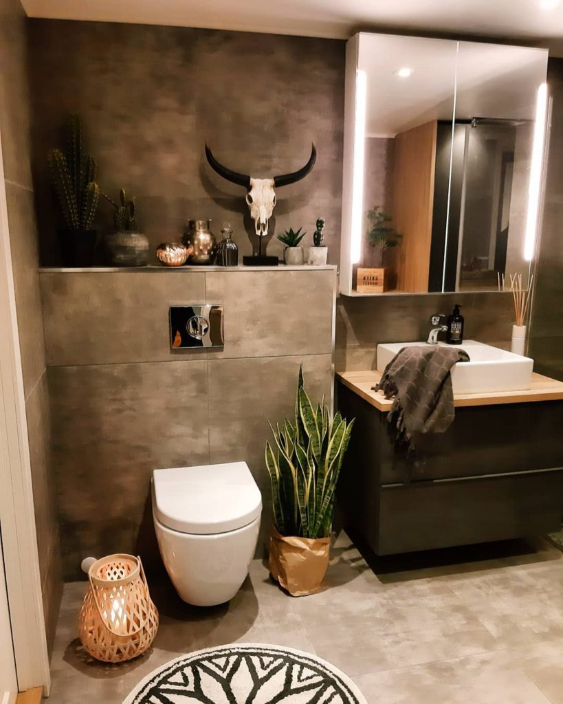 bathroom cabinet ideas with gray cabinets in natural stone bathroom