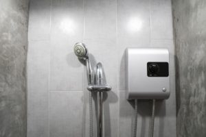electric shower head in shower