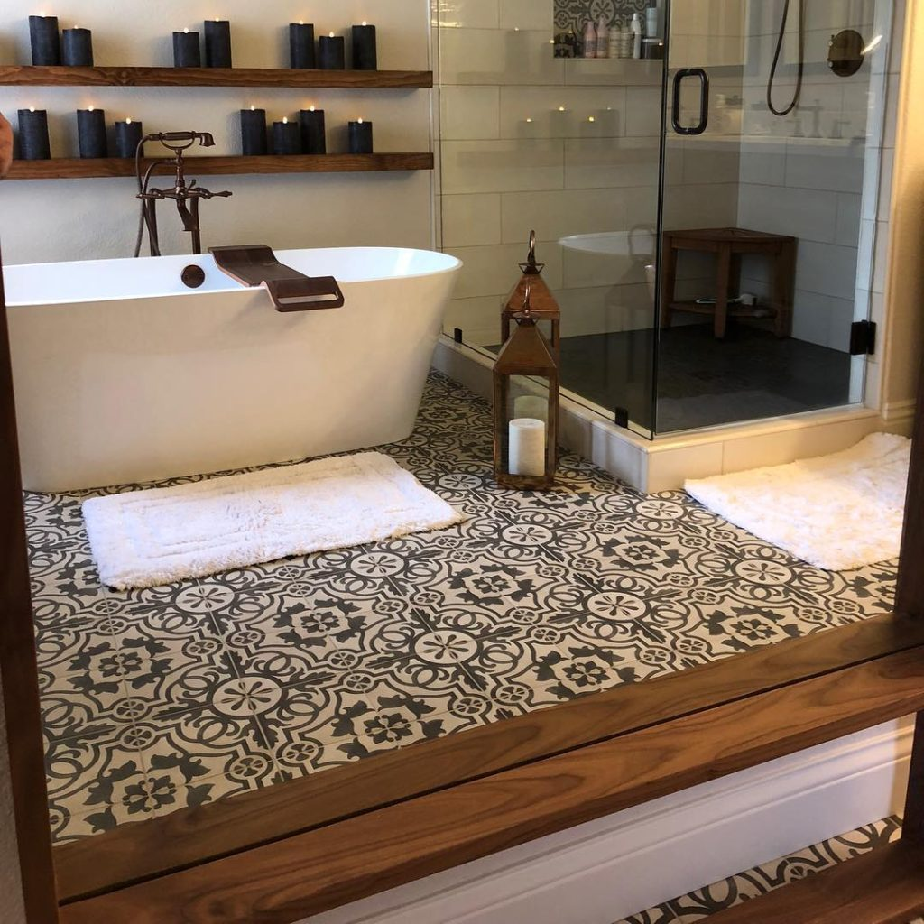 country style bathroom with patterned mosaic floor