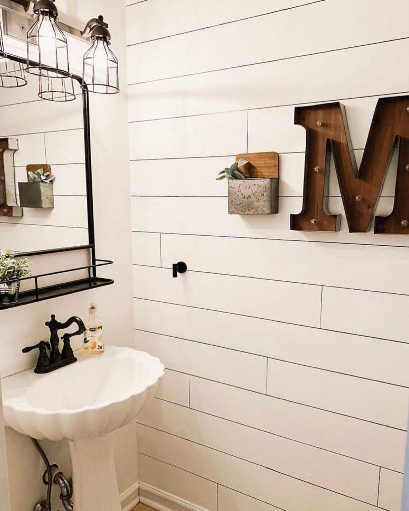 farmhouse bathroom with shiplap tile wall