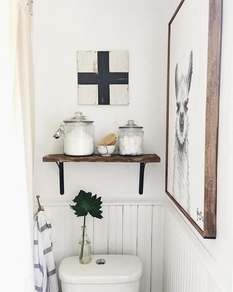 guest bathroom wall decor idea with ross painting