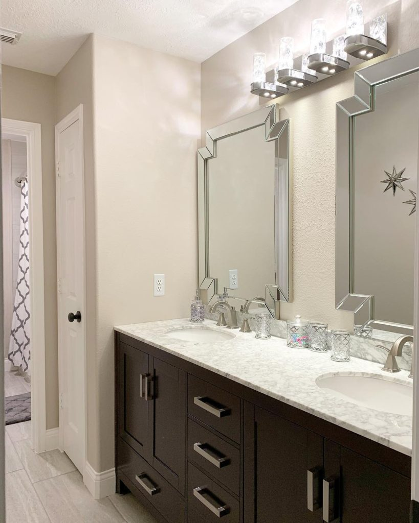 mocha vanity with white marble countertop for a guest bathroom idea