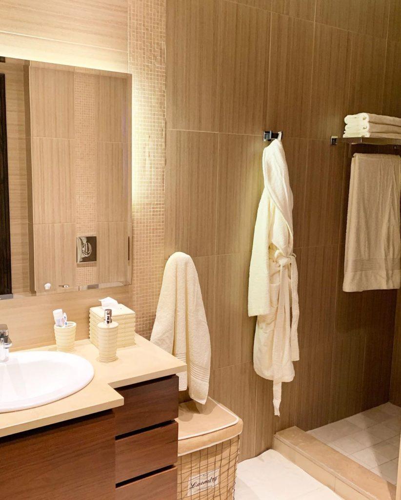 modern bathroom with tiles on walls for a guest bathroom ideas