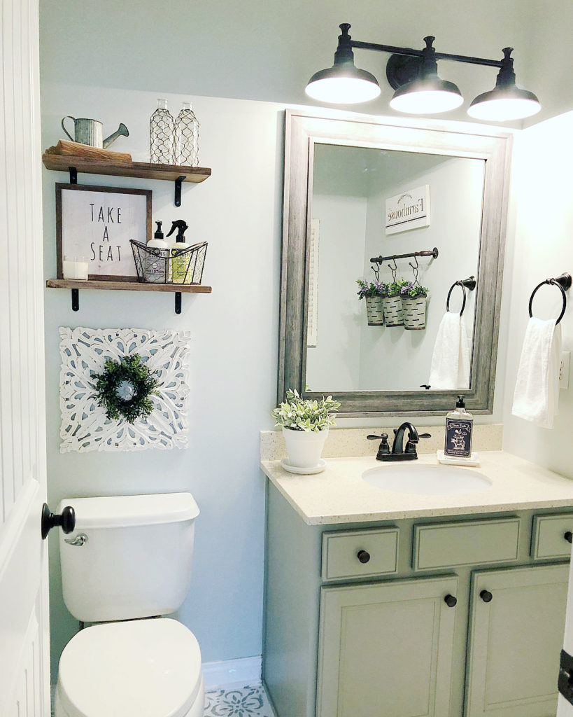 relaxing teal guest bathroom idea