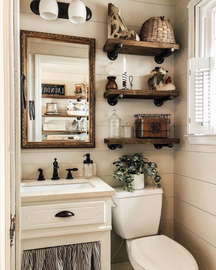 rustic guest bathroom idea with floating shelves
