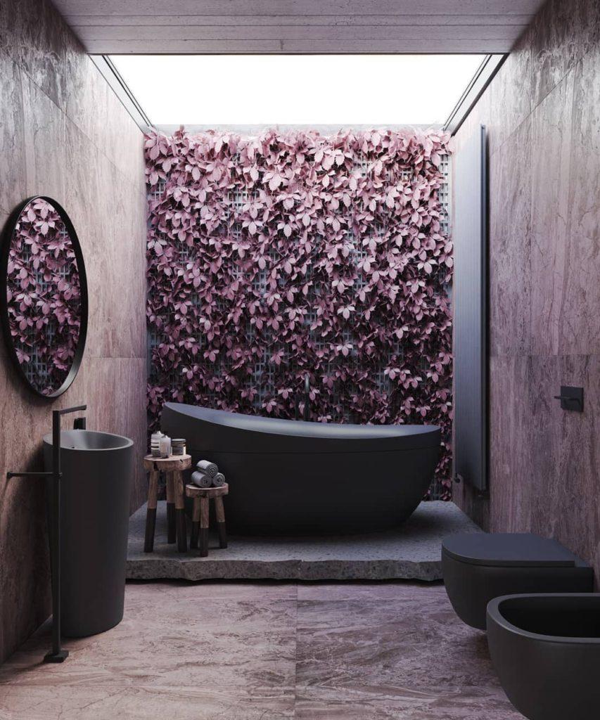 matte black bath tub idea