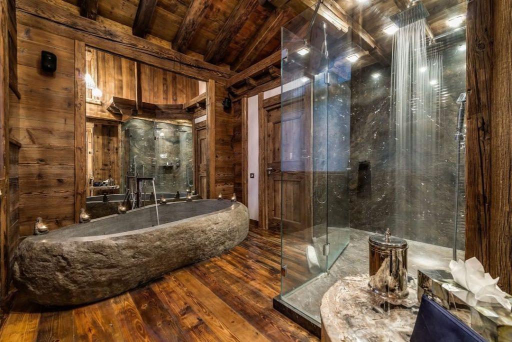 rustic stone bath tub idea