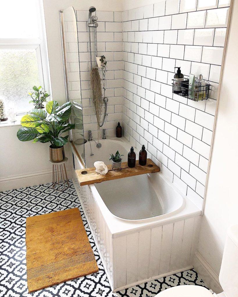farmhouse subway tile and ship lap bath tub idea
