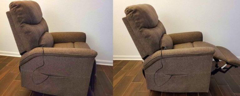 Recliner chair before and after back being fixed