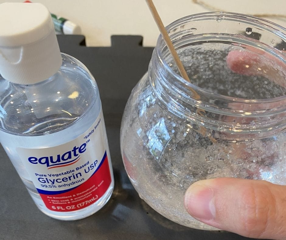 glycerin being used to make a snow globe