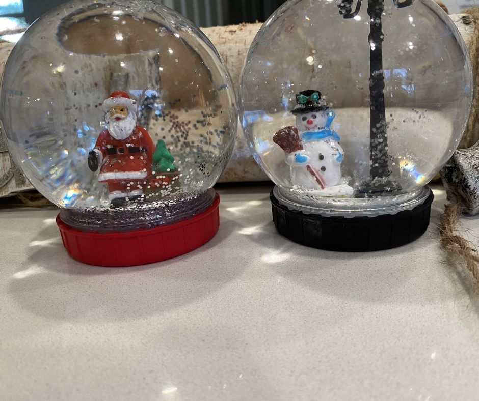 finished snow globes on display