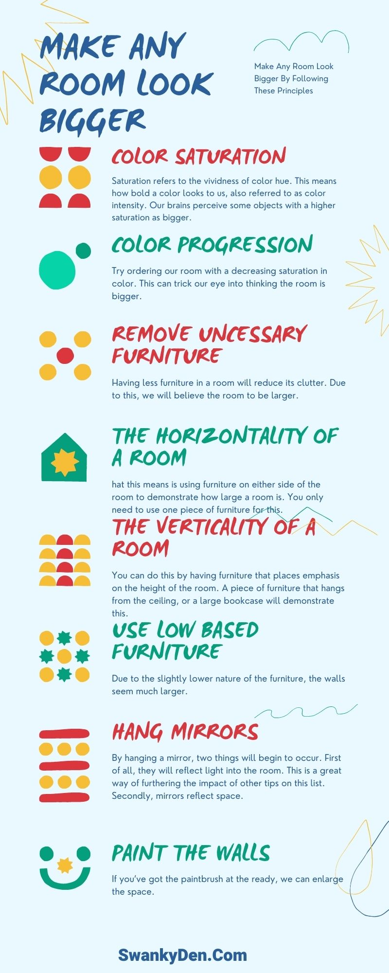 how to make any room look bigger infographic
