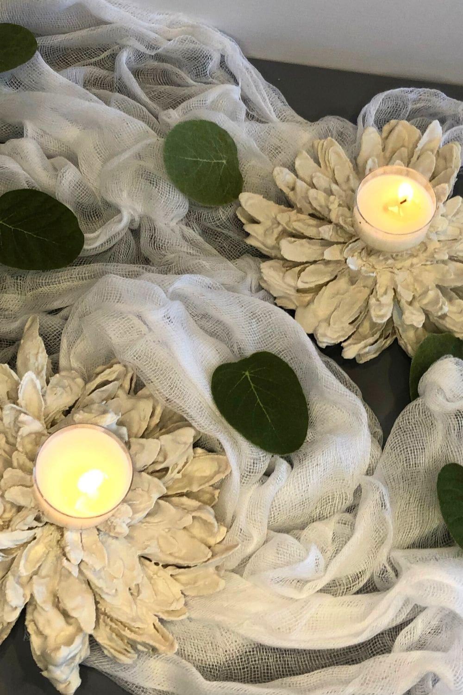 DIY Decorative plaster candle holders