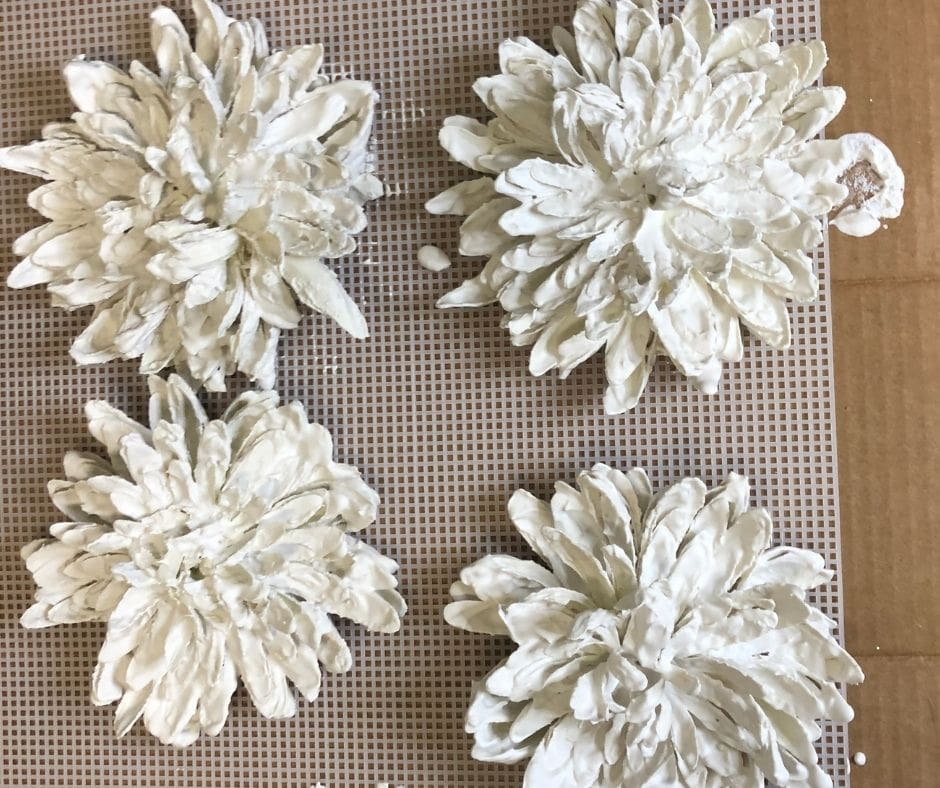 plaster of paris flowers drying