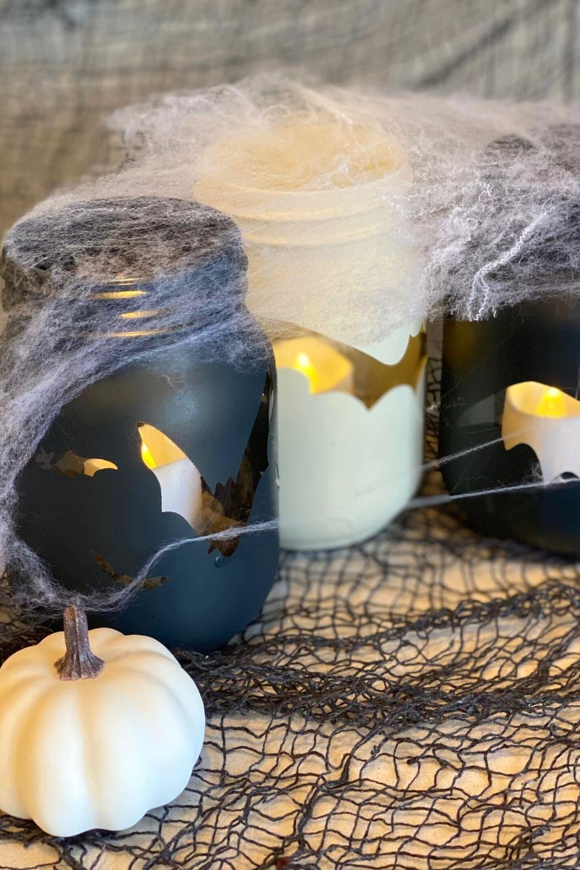diy halloween mason jar bat candle