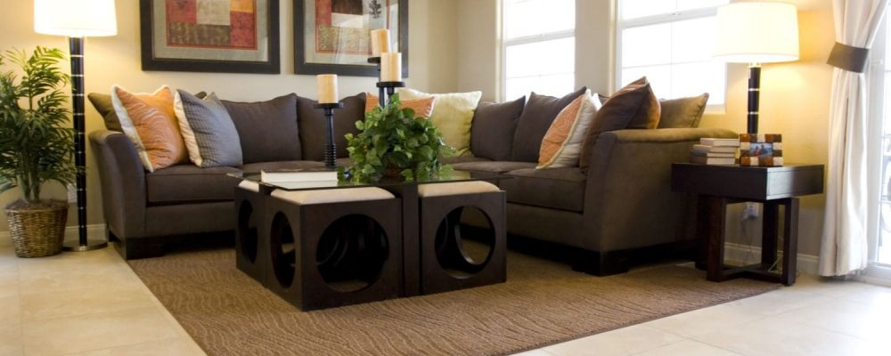 Sectional sofa in living room