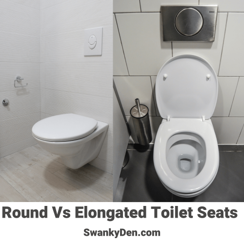 Comparison of a round toilet seat vs an elongated toilet seat